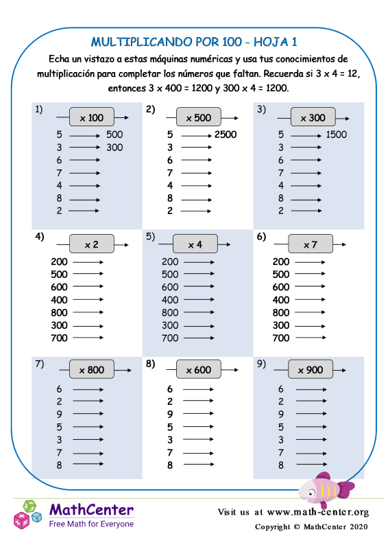 Multiplicando Por 100 Hoja 1