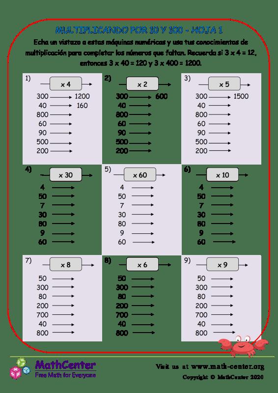 Multiplicando Por 10S Y 100S Hoja 1