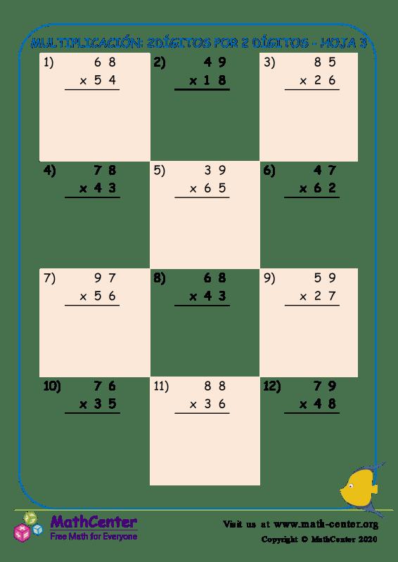 Multiplicación: 2Dígitos Por 2 Dígitos Hoja 3