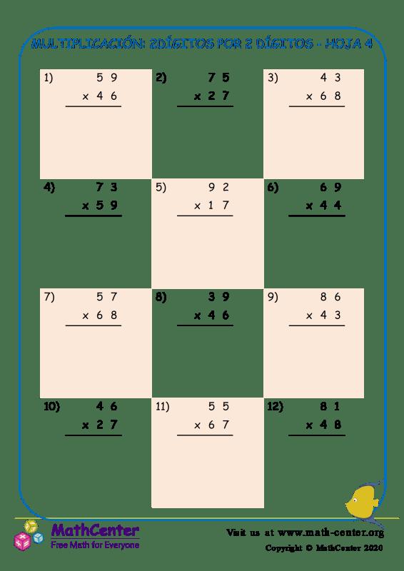 Multiplicación: 2Dígitos Por 2 Dígitos Hoja 4
