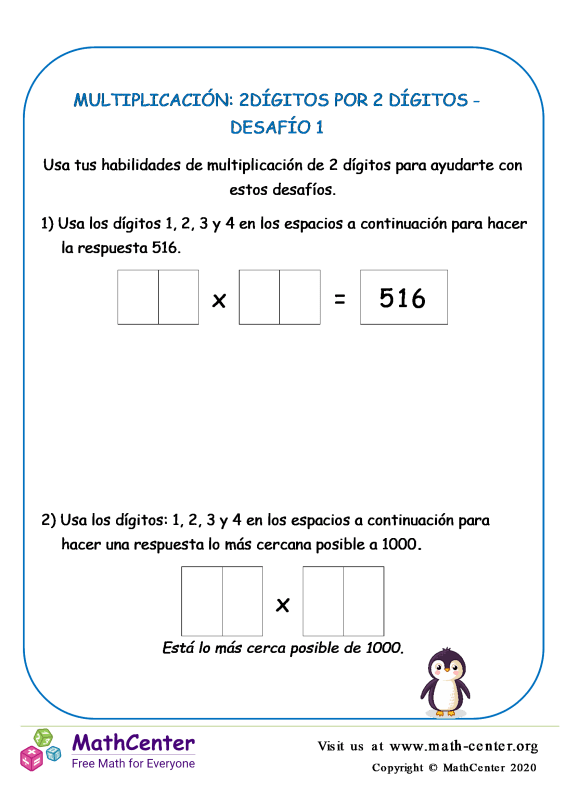 Multiplicación: 2Dígitos Por 2 Dígitos Desafío 1