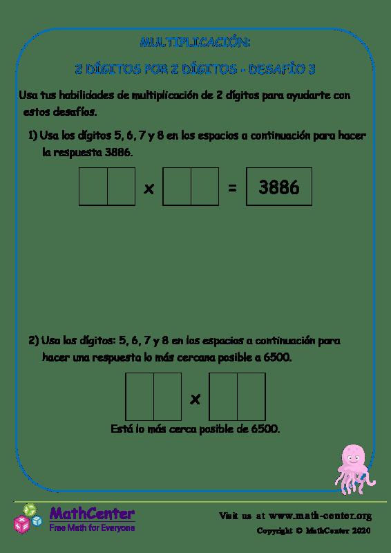 Multiplicación: 2Dígitos Por 2 Dígitos Desafío 3