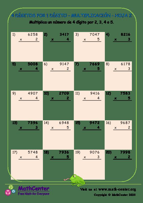 4 Dígitos Por 1 Dígito - Multiplicación - Hoja 2