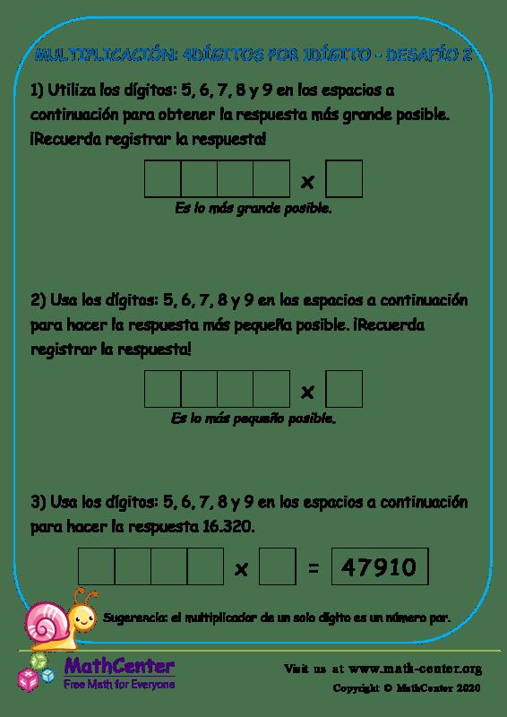 Multiplicación: 4Dígitos Por 1Dígito Desafío 2