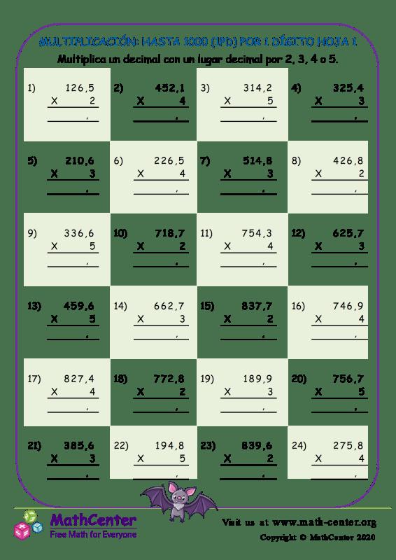 Multiplicación: Hasta 1000 (1Pd) Por 1 Dígito Hoja 1