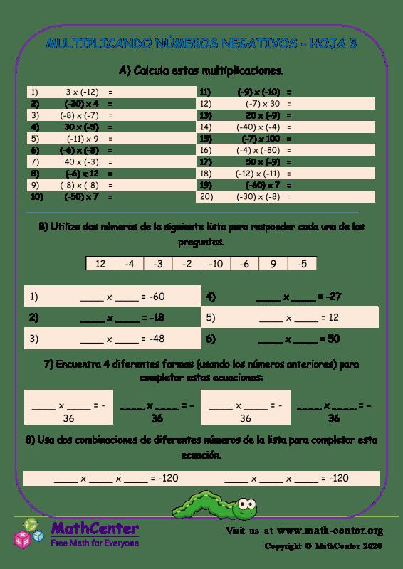 Multiplicando Números Negativos Hoja 3