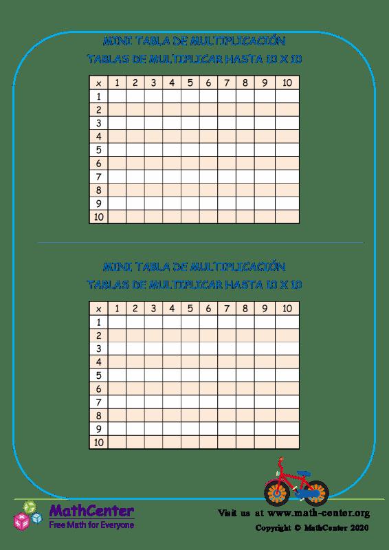 Mini Tabla de multiplicación Nº 4