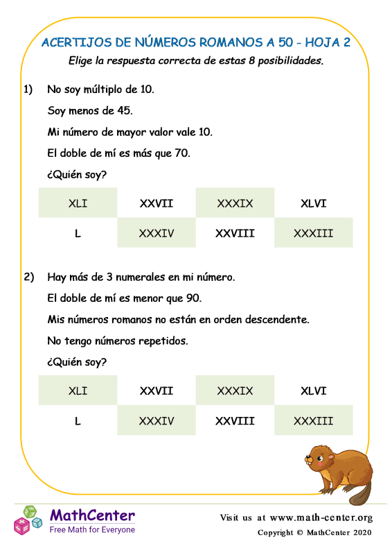 Acertijos De Números Romanos A 50 Hoja 2