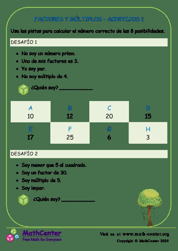 Factores Y Múltiplos - Acertijos 1