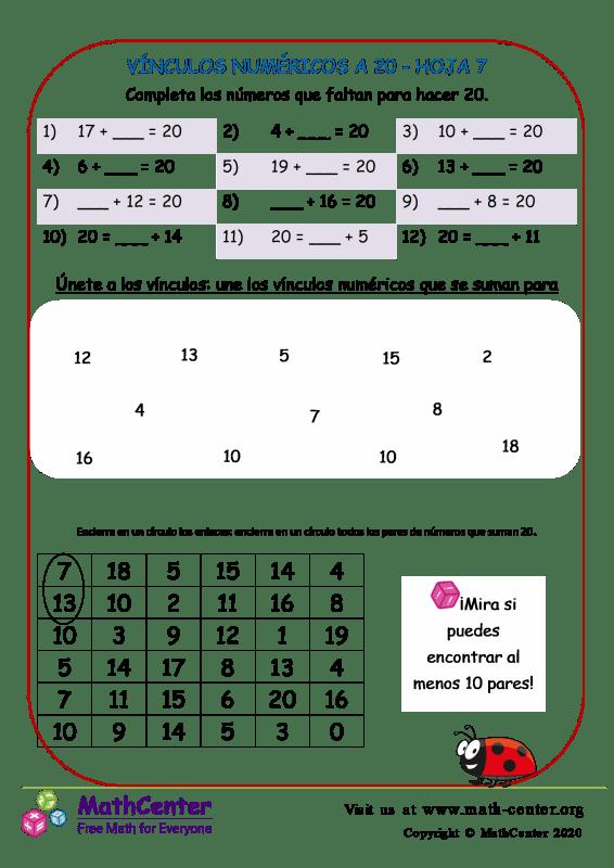 Vínculos Numéricos A 20 Hoja 7