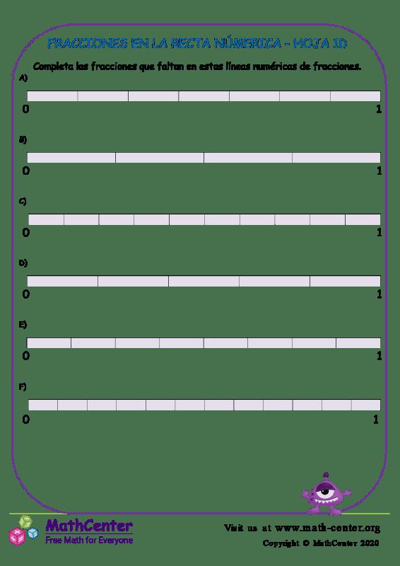 Fracciones En La Recta Númerica Hoja 1D
