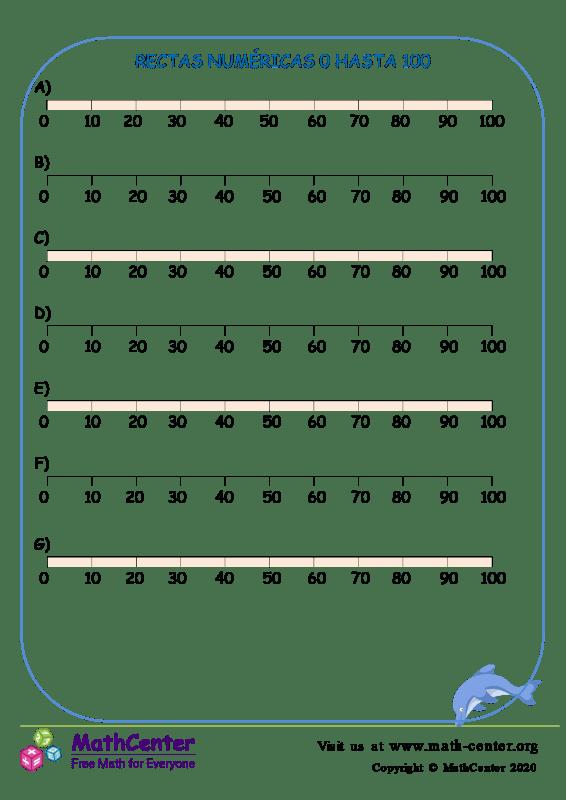 Rectas Numéricas 0 Hasta 100