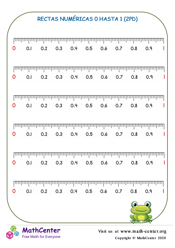 Rectas numéricas 0 a 1 (2 pd) N° 2