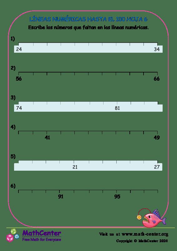 Líneas Numéricas Hasta El 100 Hoja 6
