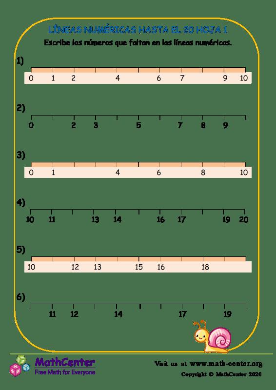 Líneas Numéricas Hasta El 20 Hoja 1
