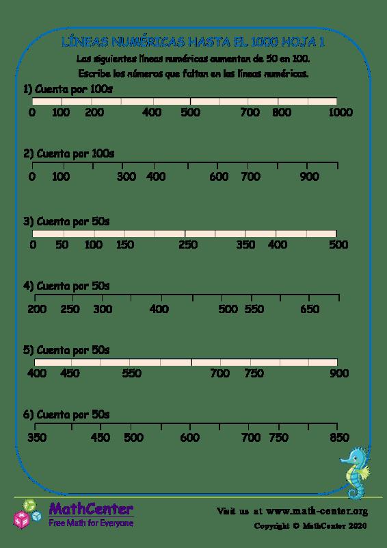 Líneas Numéricas Hasta El 1000 Hoja 1