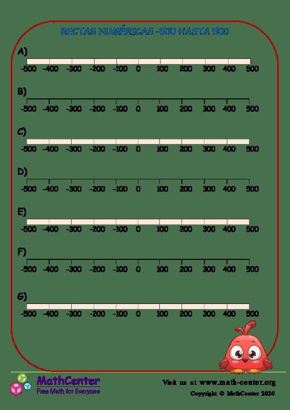 Rectas Numéricas -500 Hasta 500