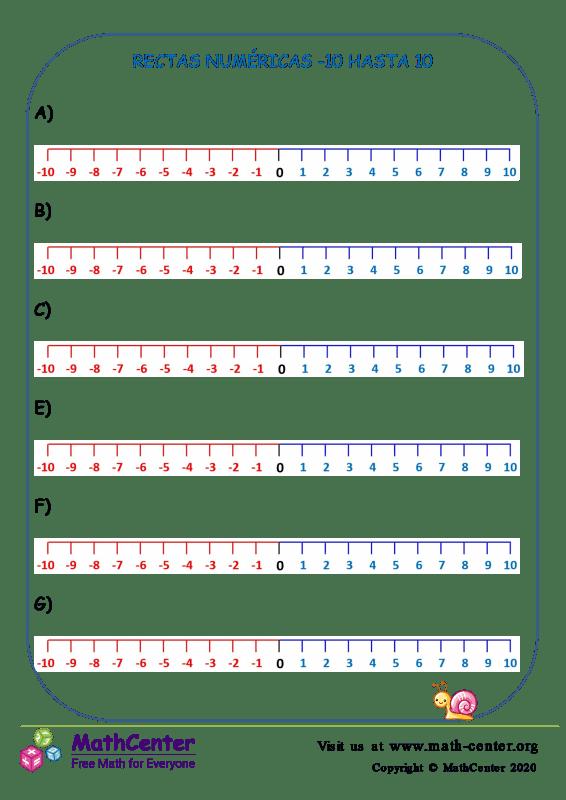 Rectas numéricas: Del -10 al 10 N°2