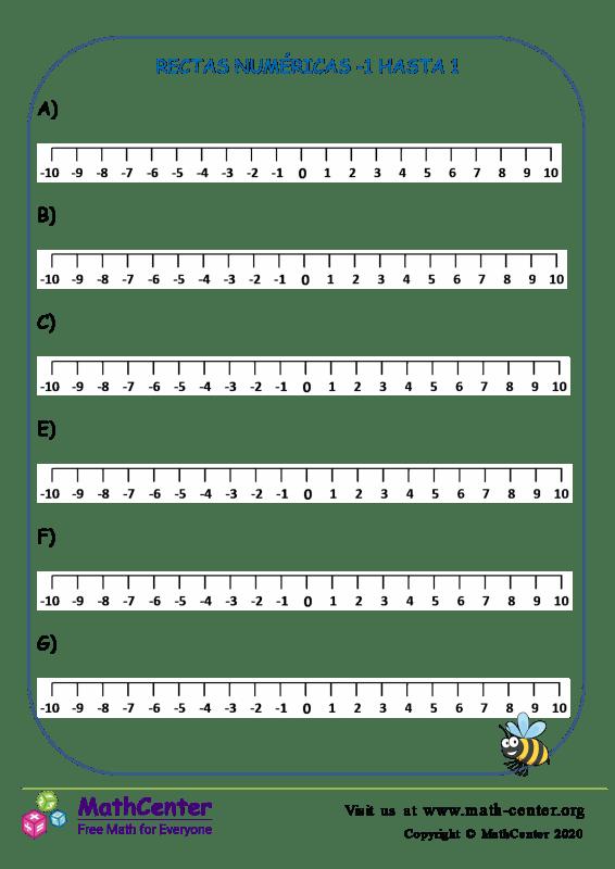 Rectas numéricas: Del -1 al 1 N°3