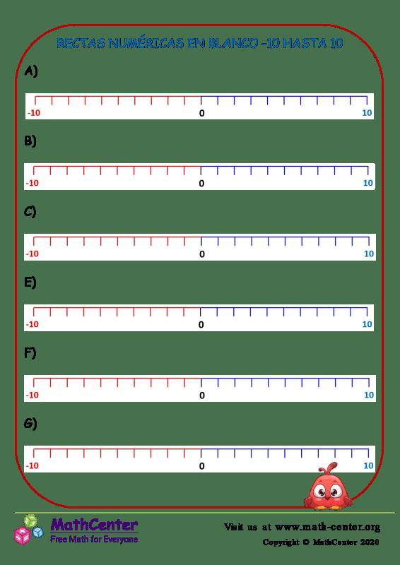 Rectas numéricas en blanco: Del -10 al 10 N°4