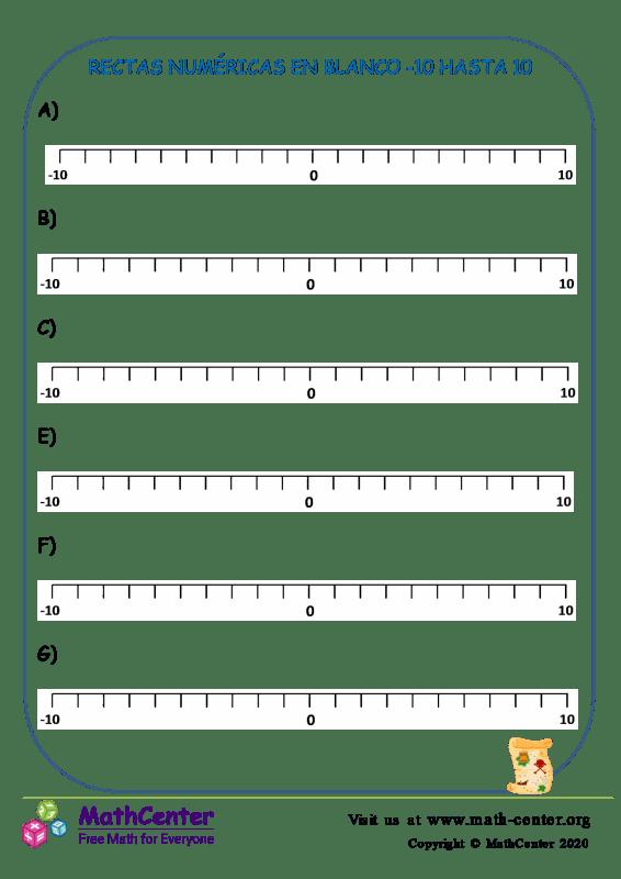 Rectas numéricas en blanco: Del -10 al 10 N°5