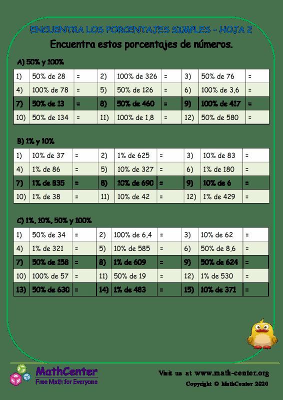 Encuentra Los Porcentajes Simples - Hoja2