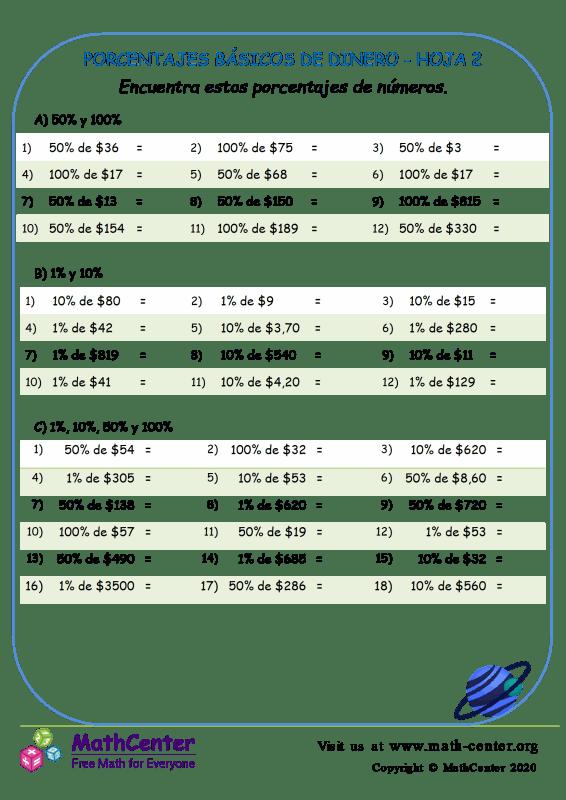 Porcentajes Básicos De Dinero - Hoja 2