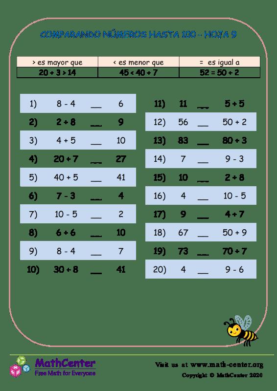 Comparando Números Hasta 100 Hoja 9