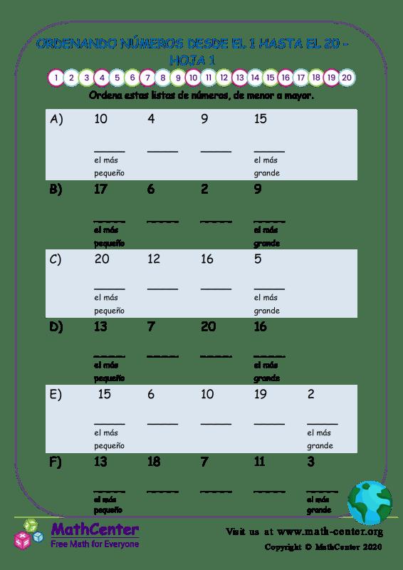 Ordenando Números Desde El 1 Hasta El 20 Hoja 1