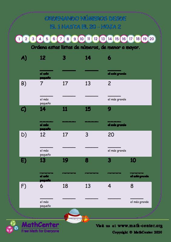 Ordenando Números Desde El 1 Hasta El 20 Hoja 2