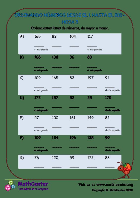Ordenando Números Desde El 1 Hasta El 200 Hoja 3