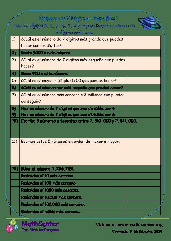Número De 7 Dígito - Desafíos 1