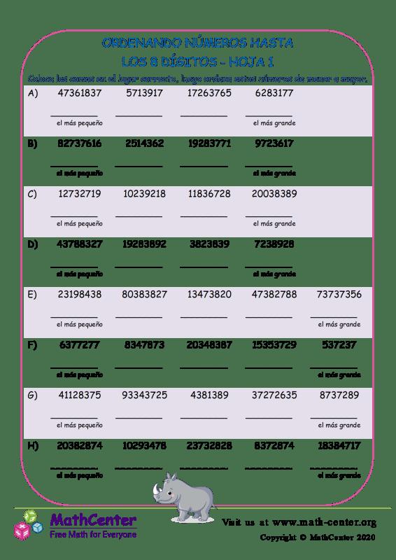Ordenando Números Hasta Los 8 Dígitos Hoja 1