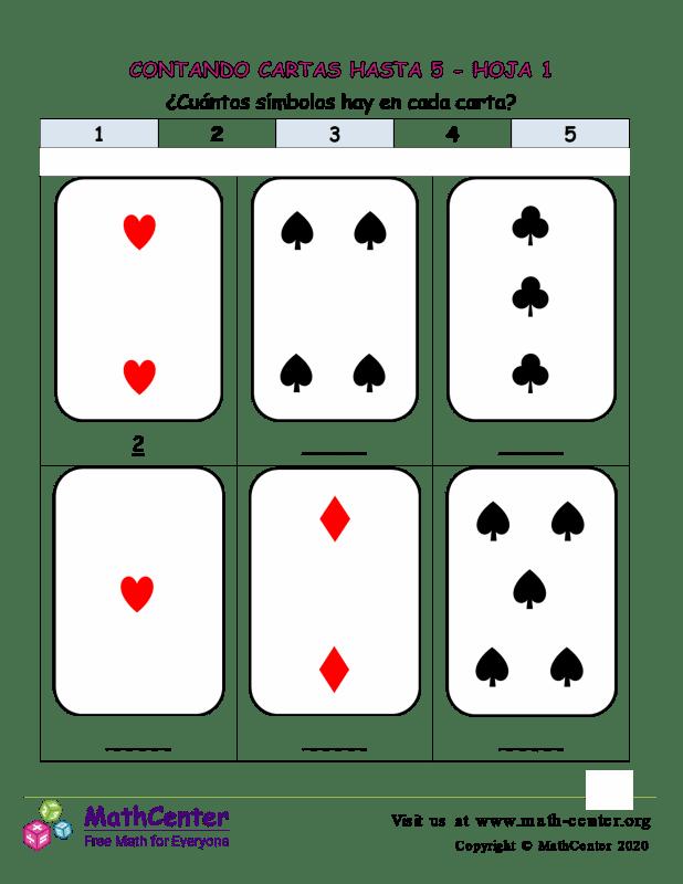 Contando Cartas Hasta 5 Hoja 1