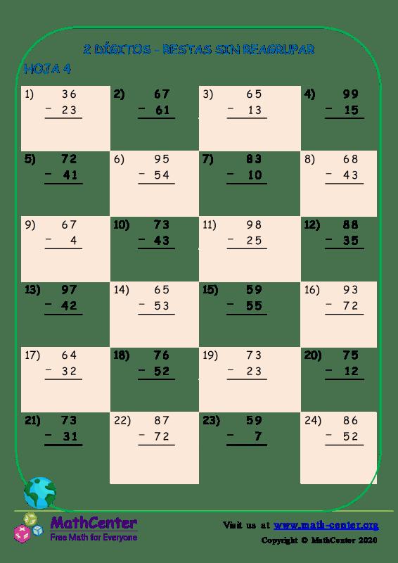 2 Dígito - Resta Sin Reagrupación - Hoja 4