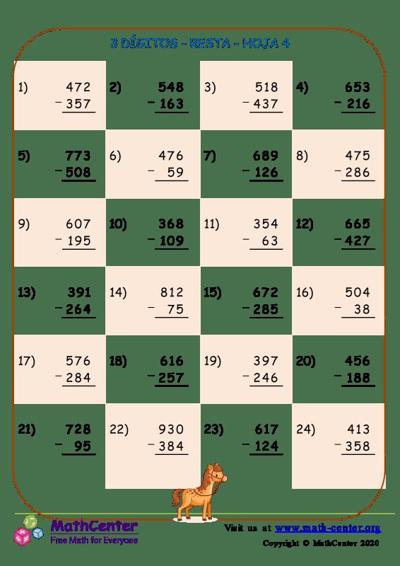 3 Dígito - Resta - Hoja 4