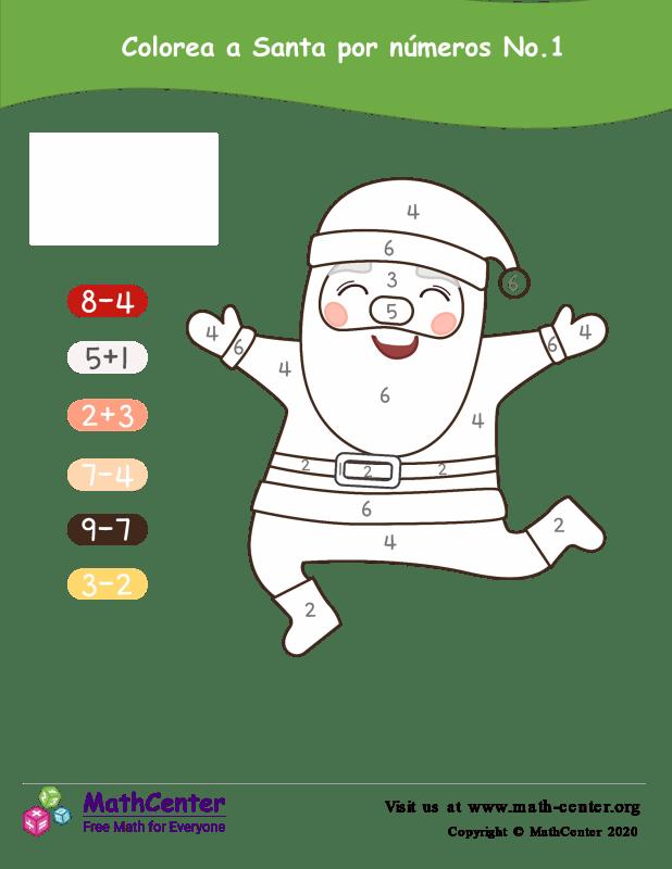 Colorear por números: Santa N° 1