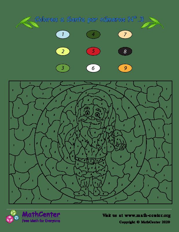 Colorear por números: Santa N° 3