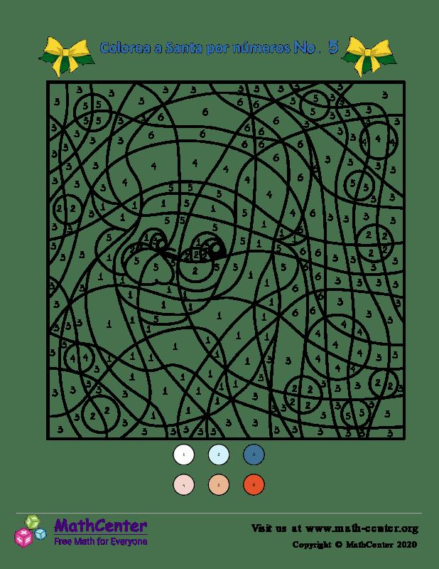 Colorear por números: Santa N° 5