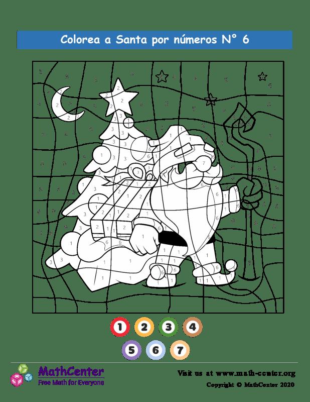 Colorear por números: Santa N° 6