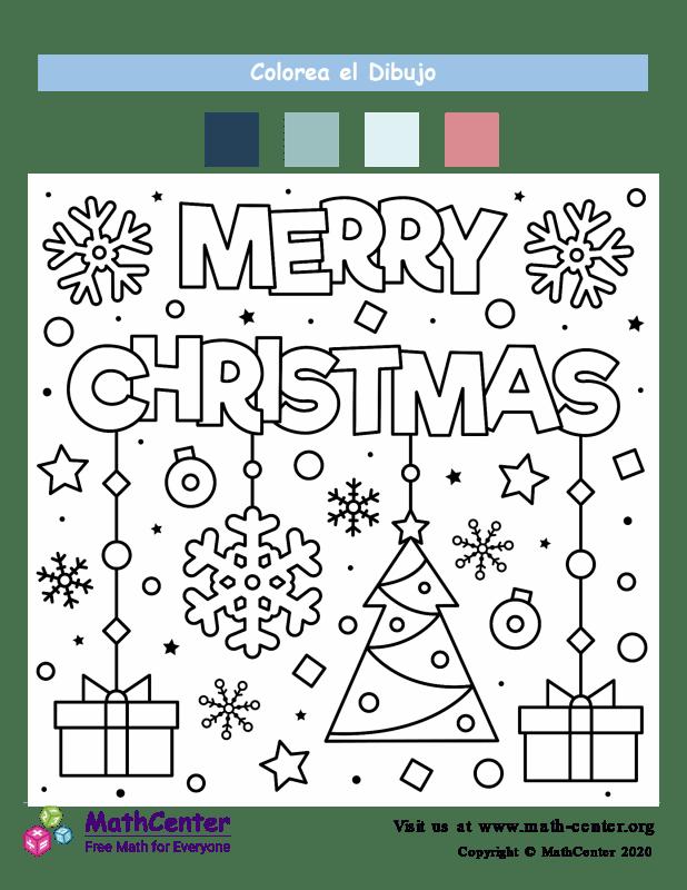 Hoja para colorear - Saludo de Navidad