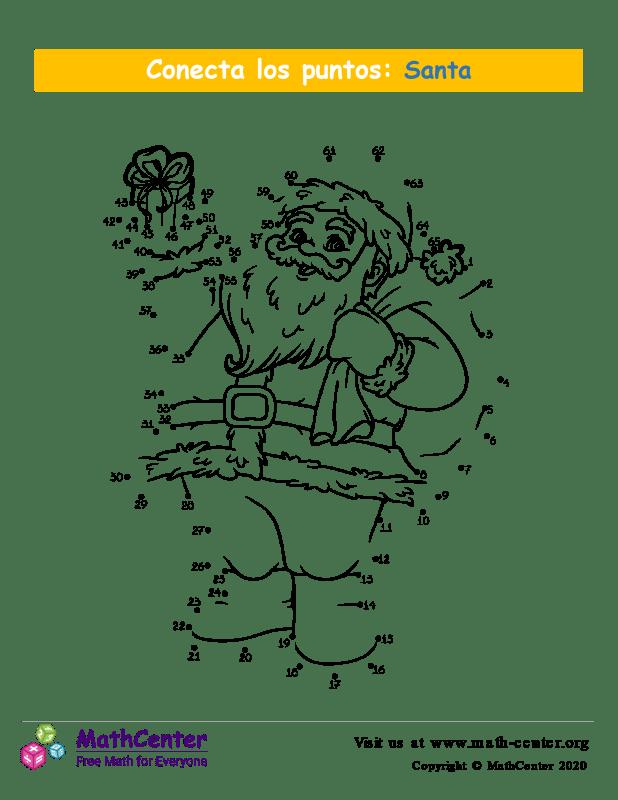 Conecta los puntos Hasta 65 - Santa Claus