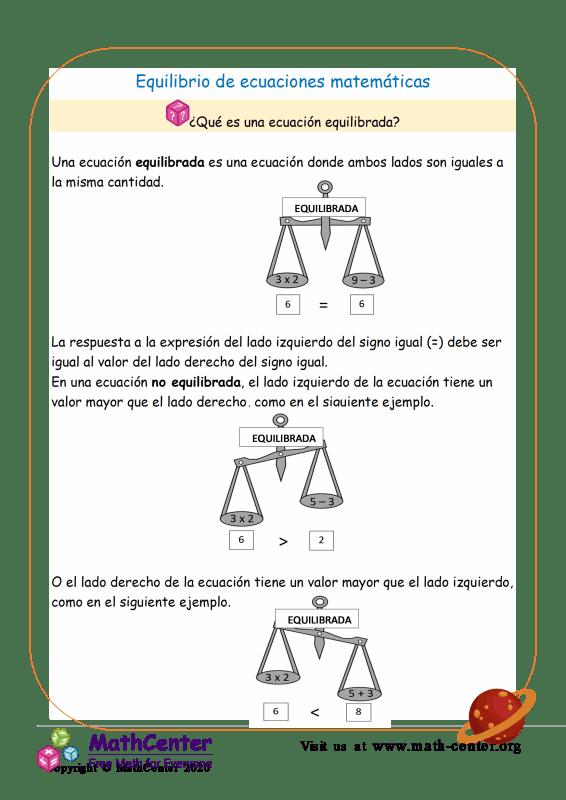 Equilibrio de ecuaciones matemáticas