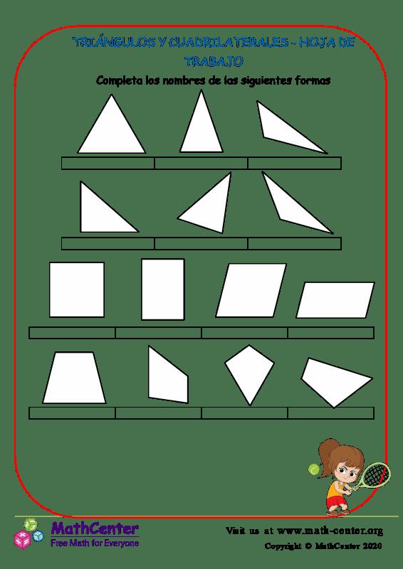 Triángulos Cuadriláteros - Hoja de trabajo (Estados Unidos)