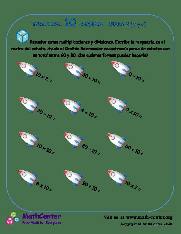 10 Tabla de multiplicar - Cohete - Hoja 2 (X y ÷)