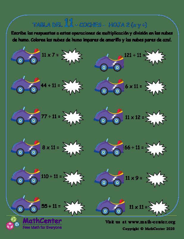 11 Tabla de multiplicar - Automóviles - Hoja 2 (X y ÷)