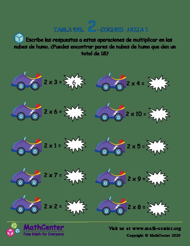 2 Tabla De Multiplicar - Hoja De Coches 1