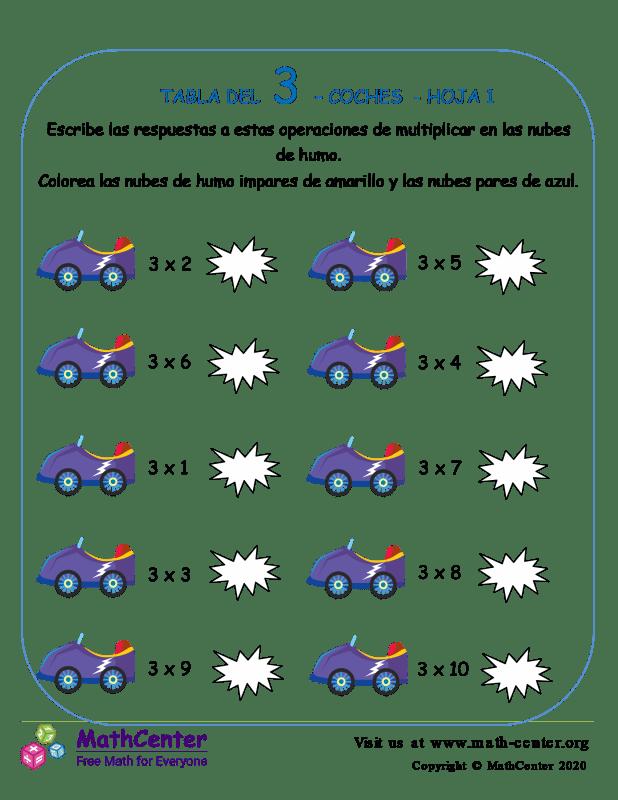 3 Tabla De Multiplicar - Hoja De Coches 1