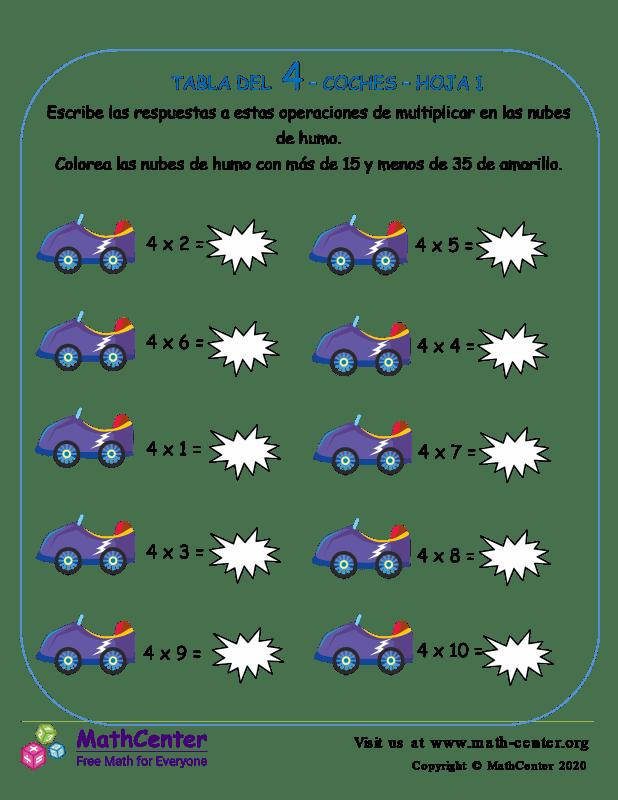 4 Tabla De Multiplicar - Hoja De Coches 1