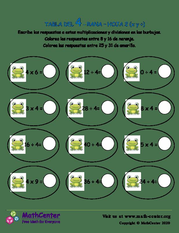 4 Tabla de multiplicar - Rana - Hoja 2 (X y ÷)